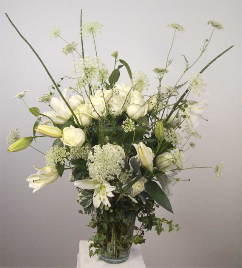 Sympathy flower arrangements by yukiko white rose bouquet with climbing ivy memorial mightylinksfo Image collections
