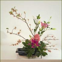 Ikebana of seasonal, native Marin branches and exotic flowers.