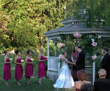 Outdoor Wedding Ceremony in the Marin Art & Garden Center, Ross, CA.