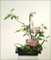 Three Sisters ikebana flower arrangement C.
