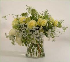 Delicate yellow roses, Queen Anne's Lace