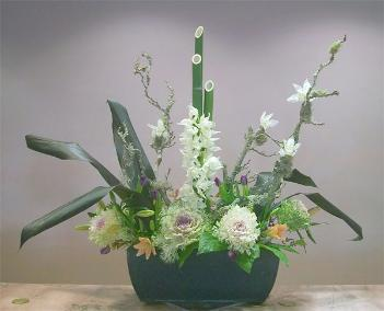 tall bamboo, cymbidium and kale ikebana celebrates the New Year 2012