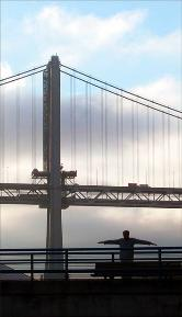 Man Rising, San Francisco Bay Bridge; Coolpix 5000.