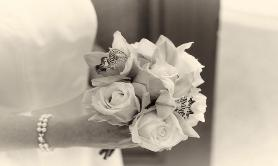 bridal bouquet in wedding ceremony at san francisco city hall - bw photo by DANA neibert photographs