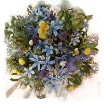 bridal bouquet designed with early summer wildflowers