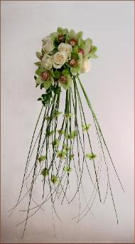Cascading bouquet designed by Marin Florist Yukiko with Bride