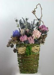 dried summer flowers peonies, lavendar in wall hanging basket