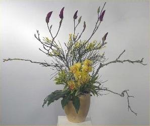 magnolia branches with cymbidium ikebana