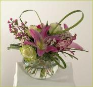 roses, lilies, seasonal flowers, spherical vase